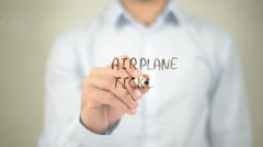 Airplane Ticket, man writing on transparent screen Stock Footage