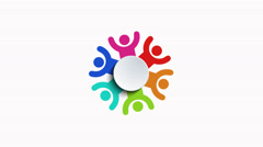 Group of people logo animation on white Arkistovideo