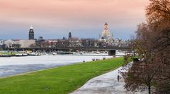 Dresden panorama from Elbe riverbank - stock photo