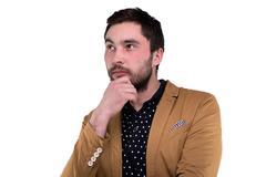 Bearded man in jacket - stock photo