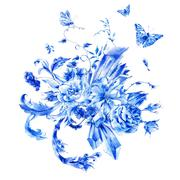 Vintage hand painted blue watercolor roses, precious crystals an Stock Illustration
