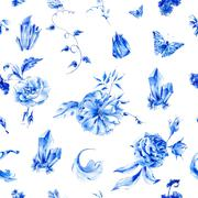 Vintage seamless pattern with blue watercolor roses - stock illustration