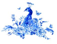 Vintage blue peacocks with watercolor roses - stock illustration