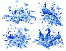 Set of isolated blue watercolor flowers and peacock - stock illustration