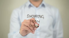 Shopping From Home , man writing on transparent screen Stock Footage