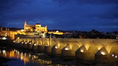 Roman Bridge and Mosque-Cathedral. Cordoba, Spain Stock Footage