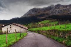 rural landscape in Axpe - stock photo