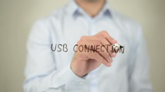 USB Connection , man writing on transparent screen Stock Footage