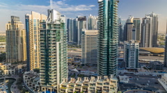 Beautiful aerial view timelapse of Dubai Marina at day time in Dubai, UAE Stock Footage