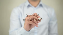 Search Algorithms , man writing on transparent screen Stock Footage