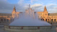 Fontaine at Plaza de Espana. Seville, Spain. Slow motion Stock Footage
