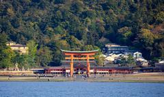Itsukushima Shrine, Miyajima island, Hiroshima, Japan - stock photo