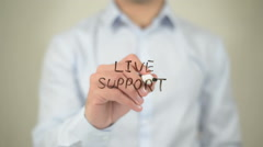 Live Support , man writing on transparent screen Stock Footage