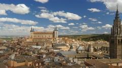 Ancient city Toledo in Castilla la Mancha. Panning shot Stock Footage