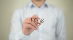 Fees , man writing on transparent screen Stock Footage