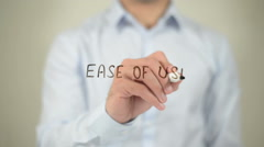 Ease To Use , man writing on transparent screen Stock Footage