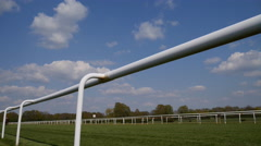 4k Horse Racing low angle race horses pass by Stock Footage