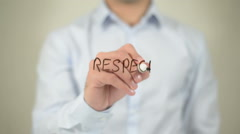 Respect, man writing on transparent screen - stock footage