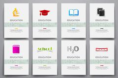 Corporate identity vector templates set with doodles education theme - stock illustration