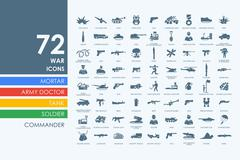 Set of war icons - stock illustration