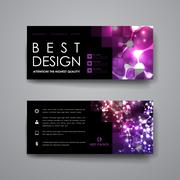 Set of modern design banner template in neon molecule structure style Stock Illustration