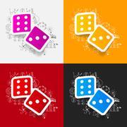 Drawing business formulas: dice - stock illustration