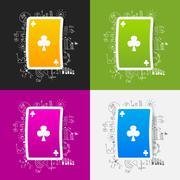 Drawing business formulas: playing card - stock illustration