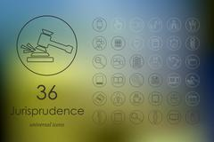 Set of jurisprudence icons - stock illustration