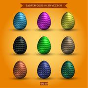 Set of easter eggs, colored high-quality illustrations modern design Stock Illustration