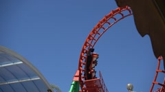 Slow motion rollercoaster with big copy space - stock footage