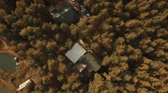 Flying Over The forest and river with houses In A Beautiful Place. Stock Footage