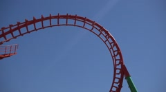 Slow motion rollercoaster upside down - stock footage