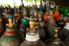 Oxygen tank background Stock Photos