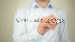 Dream + Work =Success, man writing on transparent screen - stock footage