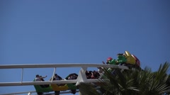 Slow motion rollercoaster ride - stock footage
