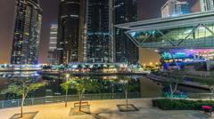 Residential buildings in Jumeirah Lake Towers timelapse hyperlapse in Dubai, UAE Stock Footage