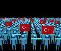 Crowd of abstract people with many Turkish flags illustration Stock Illustration