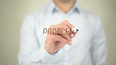 Problems  , man writing on transparent screen Stock Footage