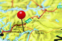Alvik pinned on a map of Norway - stock photo