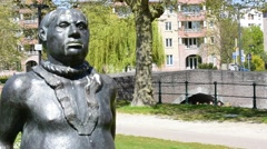 Statue The Stroppendrager at the Prinsenhof in Ghent, Flanders, Belgium Stock Footage