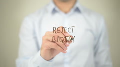 Reject Bigotry , man writing on transparent screen - stock footage