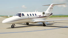 Private jet plane which landed at the international airport Danube Delta Stock Footage
