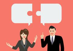 Business man and business woman in conversation - stock illustration