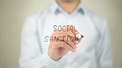 Social Sanctions , man writing on transparent screen Stock Footage