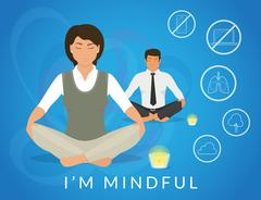 Office people sitting in calm lotus pose and relaxing Stock Illustration
