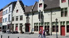 House of Alijn, former mediaeval almshouse, now museum in Ghent, Belgium Stock Footage