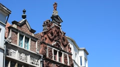 Facades of the shop Temmerman and restaurant De Hel at Ghent, Belgium - stock footage