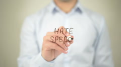 Hate Speech , man writing on transparent screen - stock footage