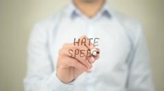 Hate Speech , man writing on transparent screen Stock Footage