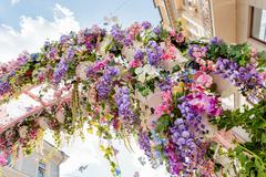 """Street festival """"Moscow Spring"""" in historical center of Moscow city. Flower d - stock photo"""